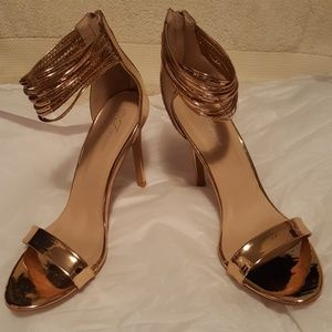 08eceab7f ... black leather brand new never worn Forever shoes gold high heel zipper  in the back an ...